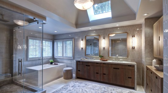 The tranquil ambiance of this master bedroom and bathroom, cabinetry, ceiling, countertop, cuisine classique, estate, home, interior design, kitchen, real estate, room, gray