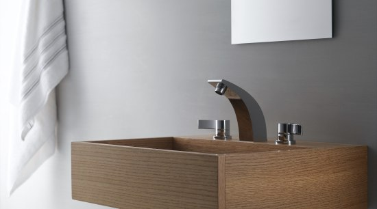 Kraus Illusio faucet  -   contemporary angle, bathroom, bathroom accessory, bathroom cabinet, bathroom sink, ceramic, floor, furniture, interior design, plumbing fixture, product, product design, shelf, sink, tap, wall, wood, white, gray