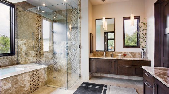 Decorative tiling creates the wow factor in the bathroom, estate, home, interior design, real estate, room, window, gray