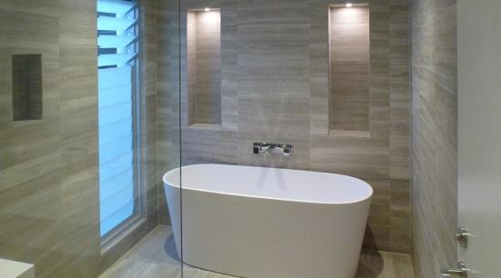 ACS Designer Bathrooms for European designer bathroomware bathroom, bathtub, floor, flooring, interior design, plumbing fixture, property, room, tile, wall, gray