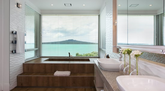 Like an eyrie high above the clifftop, this bathroom, estate, home, interior design, real estate, room, window, window covering, gray, white