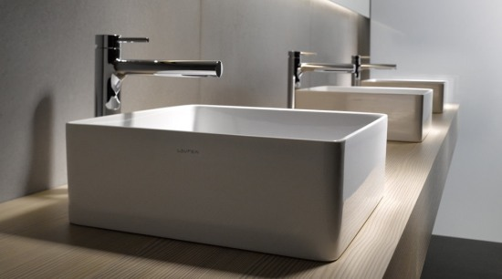 The Living Square range from laufen is also bathroom, bathroom sink, ceramic, floor, plumbing fixture, product design, sink, tap, gray, black