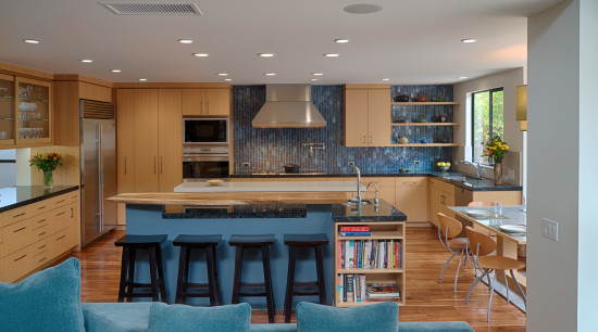 Quartersawn white oak was specified for the cabinets, cabinetry, countertop, interior design, kitchen, living room, real estate, room, gray