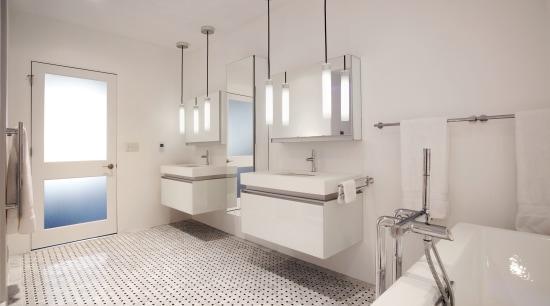 This new bathroom in a loft-style apartment in bathroom, bathroom accessory, floor, home, interior design, plumbing fixture, product design, room, sink, tap, gray