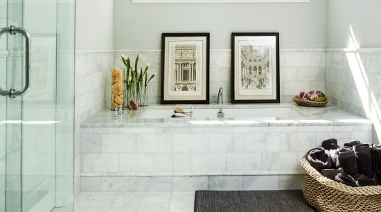 This tub tucks into a space beneath a bathroom, floor, flooring, home, interior design, room, tile, white