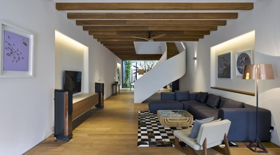 The main living space on the ground floor architecture, ceiling, floor, interior design, living room, loft, property, real estate, room, gray
