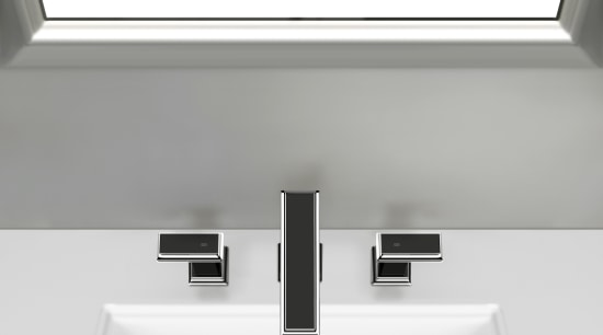 Gessis Fascino solid brass faucets have a streamlined, bathroom sink, plumbing fixture, product, product design, sink, tap, white, gray