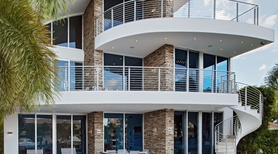 Virginia Ledgestone stone veneers from NSVI feature on apartment, architecture, building, condominium, elevation, estate, facade, home, house, property, real estate, residential area, swimming pool, villa, white