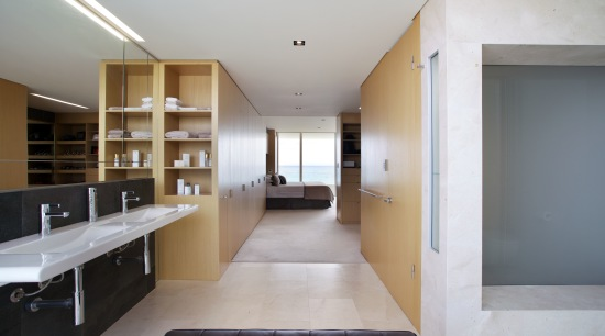 Sliding pocket doors between this master bedroom and architecture, house, interior design, property, real estate, gray