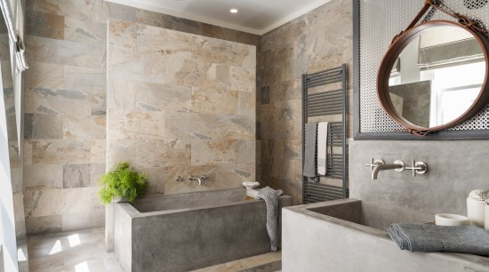 The natural tones of the Verde slate stone bathroom, floor, flooring, home, interior design, real estate, room, tile, wall, gray