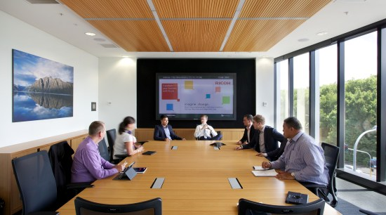 New Ricoh Auckland office is a showroom for communication device, conference hall, institution, meeting, office, seminar, technology
