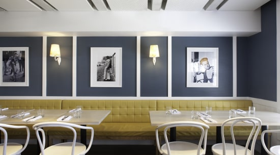La Fourchette Restaurant in St Heliers features Resene ceiling, dining room, interior design, restaurant, table, white