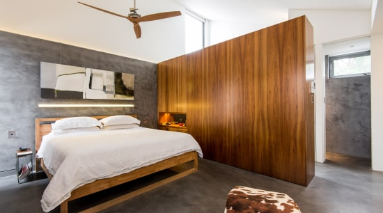 This privacy wall provides the vanity niche on architecture, bed frame, bedroom, ceiling, interior design, real estate, room, suite, wood, white, brown
