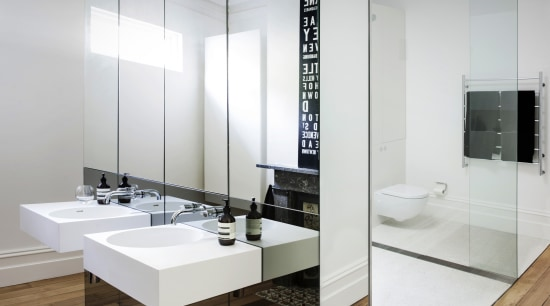 For this master bathroom renovation project by Architect bathroom, floor, interior design, sink, white, gray