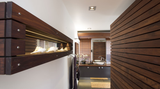 Timber slats stained in Resene Colorwood Mahogany bring architecture, ceiling, interior design, real estate, wood, gray