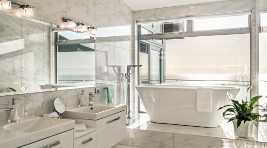 Soaking up the scenery  the bathtub arguably bathroom, interior design, sink, gray