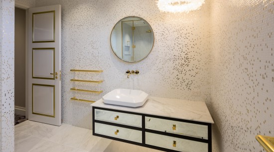 All that glisters  white gold mosaic tiles, bathroom, floor, flooring, home, interior design, product design, room, sink, tile, wall, gray