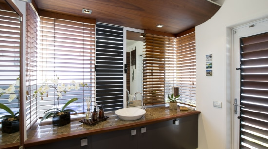 On this bathroom renovation, the black external wall bathroom, home, interior design, real estate, room, window, window blind, window covering, window treatment, wood, white