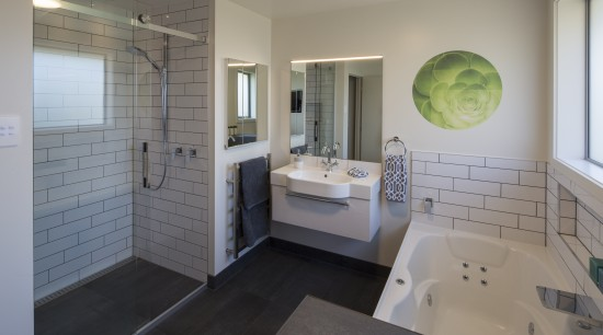 Additional space was borrowed from an adjacent linen architecture, bathroom, floor, home, house, interior design, real estate, room, gray