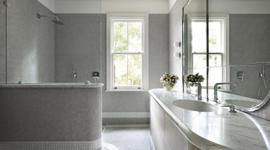 Pale-toned glass mosaics and a predominance of soft bathroom, countertop, floor, home, interior design, property, real estate, room, sink, window, gray, white