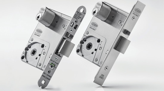 This lock system offers in-door configuration for easy font, product, product design, white