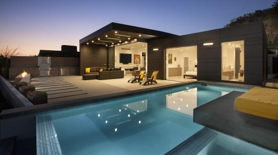 Architect Trevor Abramson took a relatively small 1960s architecture, estate, family car, home, house, interior design, lighting, property, real estate, swimming pool, villa, black