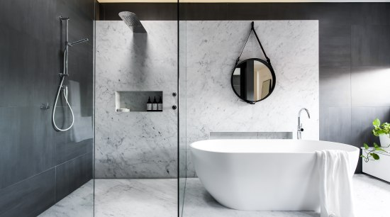 Luxury surfaces, subtle layered lighting with dimmers and bathroom, bidet, ceramic, floor, interior design, plumbing fixture, product design, room, tap, tile, white, gray