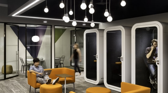 Workers are prepared to spend longer hours at ceiling, furniture, interior design, lobby, product design, table, black, gray