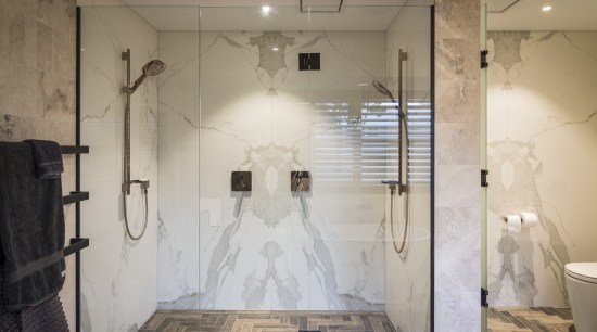 Large format 1200mm by 2400mm bookmatched Neolith porcelain bathroom, ceiling, floor, flooring, home, interior design, room, tile, wall, gray