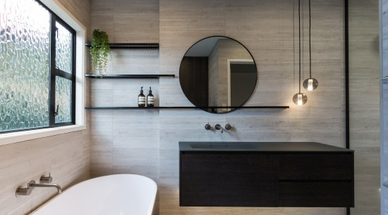 Bathroom renovation creates a contemporary feel, but keeps bathroom, countertop, floor, flooring, interior design, room, sink, wall, gray