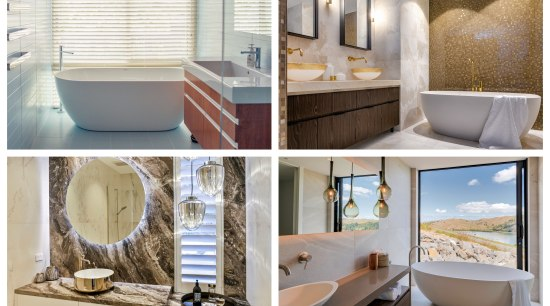 2019 NZ TIDA Bathroom Award Winners - architecture architecture, bathroom, bathtub, floor, flooring, furniture, home, interior design, marble, plumbing fixture, product, property, room, tile, white, gray