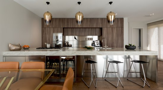 Stainless steel is a prominent surface in this bar stool, building, cabinetry, ceiling, countertop, design, dining room, floor, flooring, furniture, hardwood, home, house, interior design, kitchen, laminate flooring, light fixture, property, real estate, room, stool, table, wood, wood flooring, gray, brown