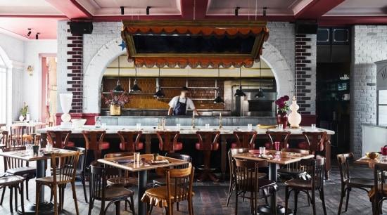 Priscilla's – the ground floor's 250-seat restaurant. café, coffeehouse, interior design, restaurant, table, black