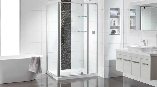 In need of a bathroom makeover? Be in architecture, automotive exterior, bathroom, door, floor, glass, material property, plumbing fixture, product, room, shower, shower door, shower panel, tile, white