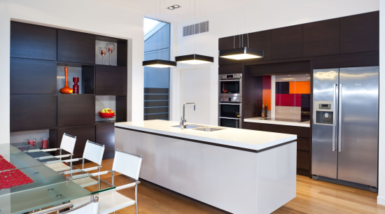 Kitchen with custom-designed cabinetry – RH Cabinetmakers apartment, architecture, building, cabinetry, ceiling, countertop, design, floor, flooring, furniture, home, house, interior design, kitchen, living room, loft, material property, property, real estate, room, table, white