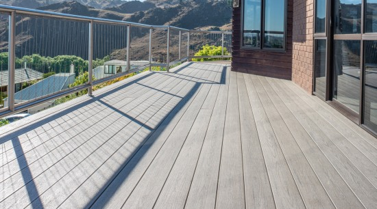 Central Otago Home Features A Beautiful TimberTech Composite composite material, deck, floor, handrail, outdoor structure, real estate, walkway, wood, gray
