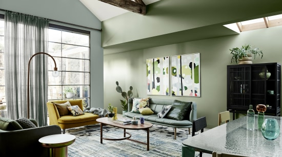 Dulux Colour Forecast 2020 Cultivate Palette. Colours: Dulux architecture, building, ceiling, coffee table, couch, daylighting, floor, flooring, furniture, green, home, house, interior design, living room, loft, property, real estate, room, table, wall, yellow, white, gray