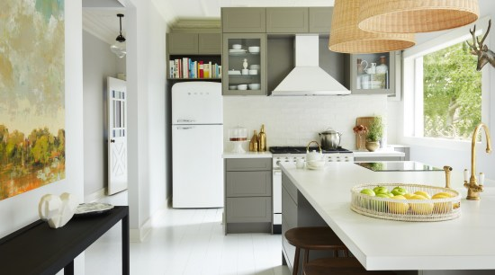 Dekton® and Silestone® by Cosentino in Neale Whitaker's architecture, building, cabinetry, ceiling, countertop, cuisine classique, floor, flooring, furniture, home, house, interior design, kitchen, kitchen stove, material property, property, real estate, room, table, tile, yellow, white