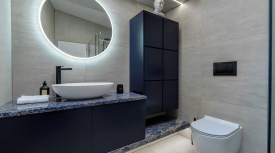 Utilising the full width of the room for bathroom, bathroom accessory, interior design, room, sink, gray, black