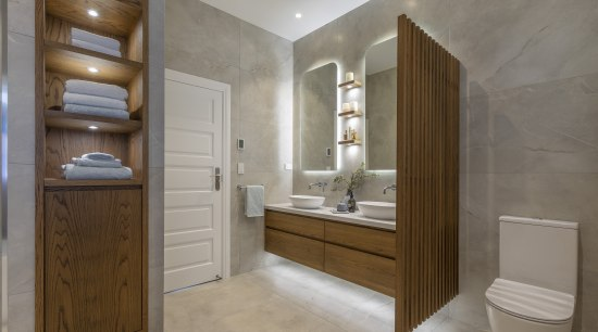 One-off custom-designed wood joinery takes this bathroom by architecture, bathroom, bathroom cabinet, building, cabinetry, door, floor, flooring, furniture, house, interior design, property, real estate, room, tile, gray, brown