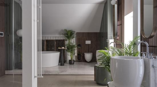 Shower, bathing area, toilet, vanities, basins and taps architecture, bathroom, building, ceiling, floor, flooring, flowerpot, house, houseplant, interior design, lobby, property, real estate, room, tile, gray