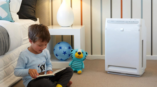 Daikin Purifiers baby products, bed, child, floor, flooring, furniture, play, product, room, technology, toddler, toy, gray, white