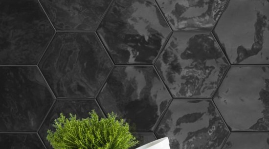 HEXA WALL is an extruded white body ceramic black and white, pattern, still life photography, wall, wallpaper, black