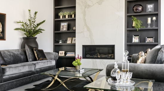 Formal lounge – contemporary new home by Urbane chair, coffee table, couch, furniture, home, interior design, living room, loveseat, room, table, white, black
