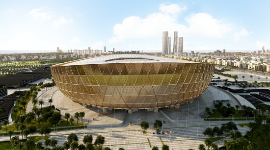 New look at Foster + Partners Lusail Stadium architecture, city, structure, white, brown