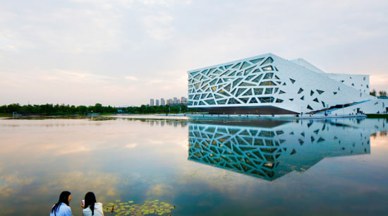 Nestled between the bustling city of Hangzhou and aqua, architecture, blue, cloud, leisure, photography, reflection, sky, tourism, tree, vacation, water, white