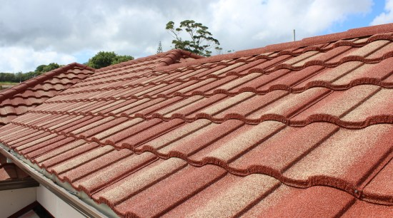 Metrotile Roof 1 brick, daylighting, facade, outdoor structure, roof, sky, wood, red, orange