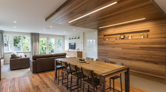 With an existing lounge window replaced with bifold timber ceiling, floor, flooring, hardwood, house, interior design, living room, dining table, wood, wood flooring, open plan living, Higham Architects