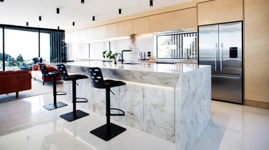 In this kitchen, part of a new home countertop, benchtop, floor, interior design, kitchen, kitchen island, marble, boon team architects, white