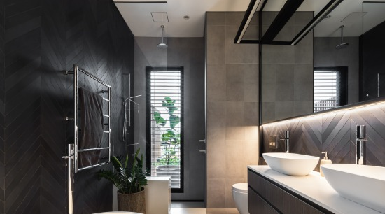 ​​​​​​​Concealed lighting under the wall cabinetry washes down architecture, bathroom, bathroom design, black, white, tiles,  vanity, Melonie Bayl-Smith, Andrew Lee, Bijl Architecture